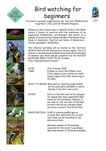 Bird watching workshop 2015